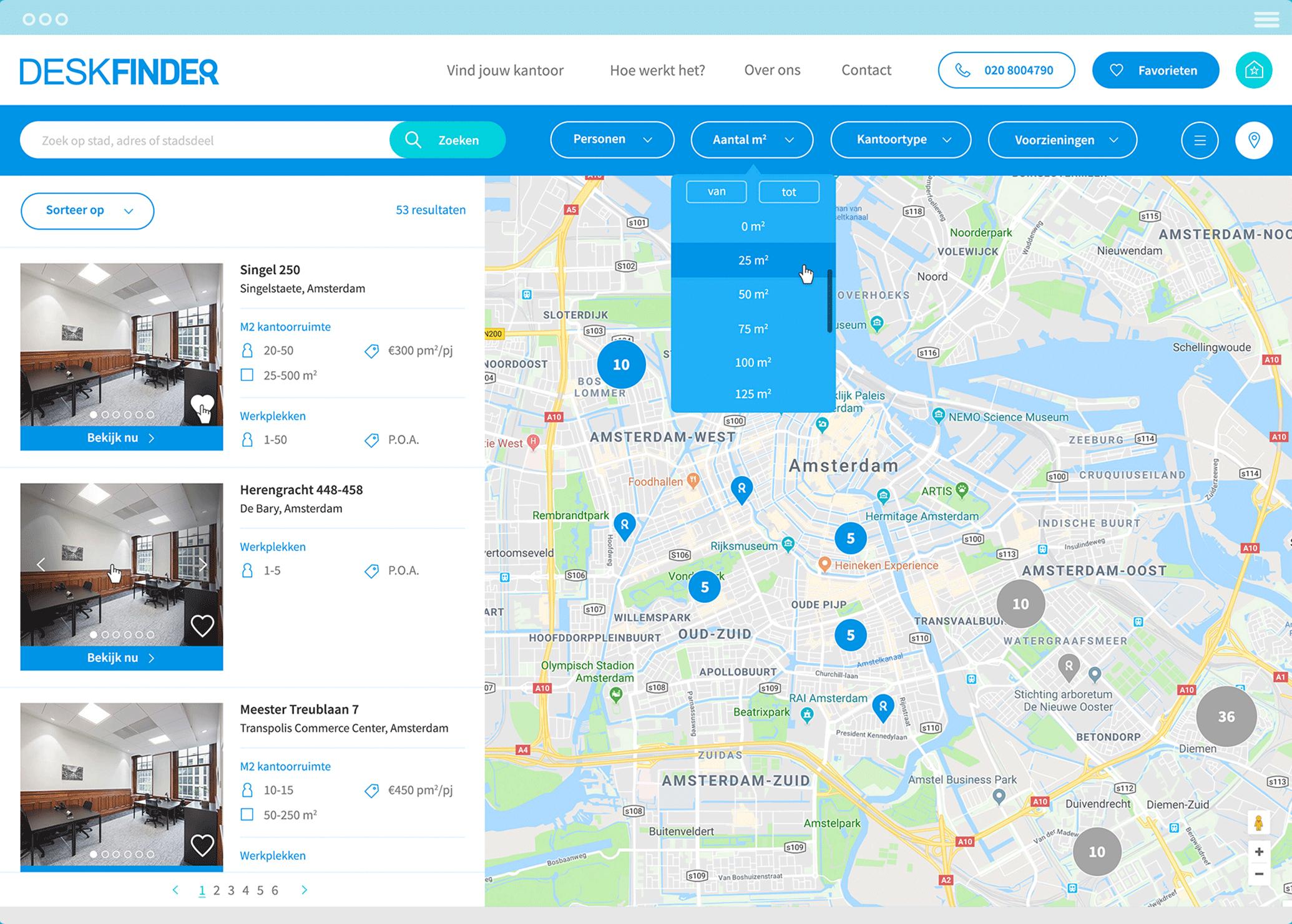 Deskfinder zoekfunctie op de website