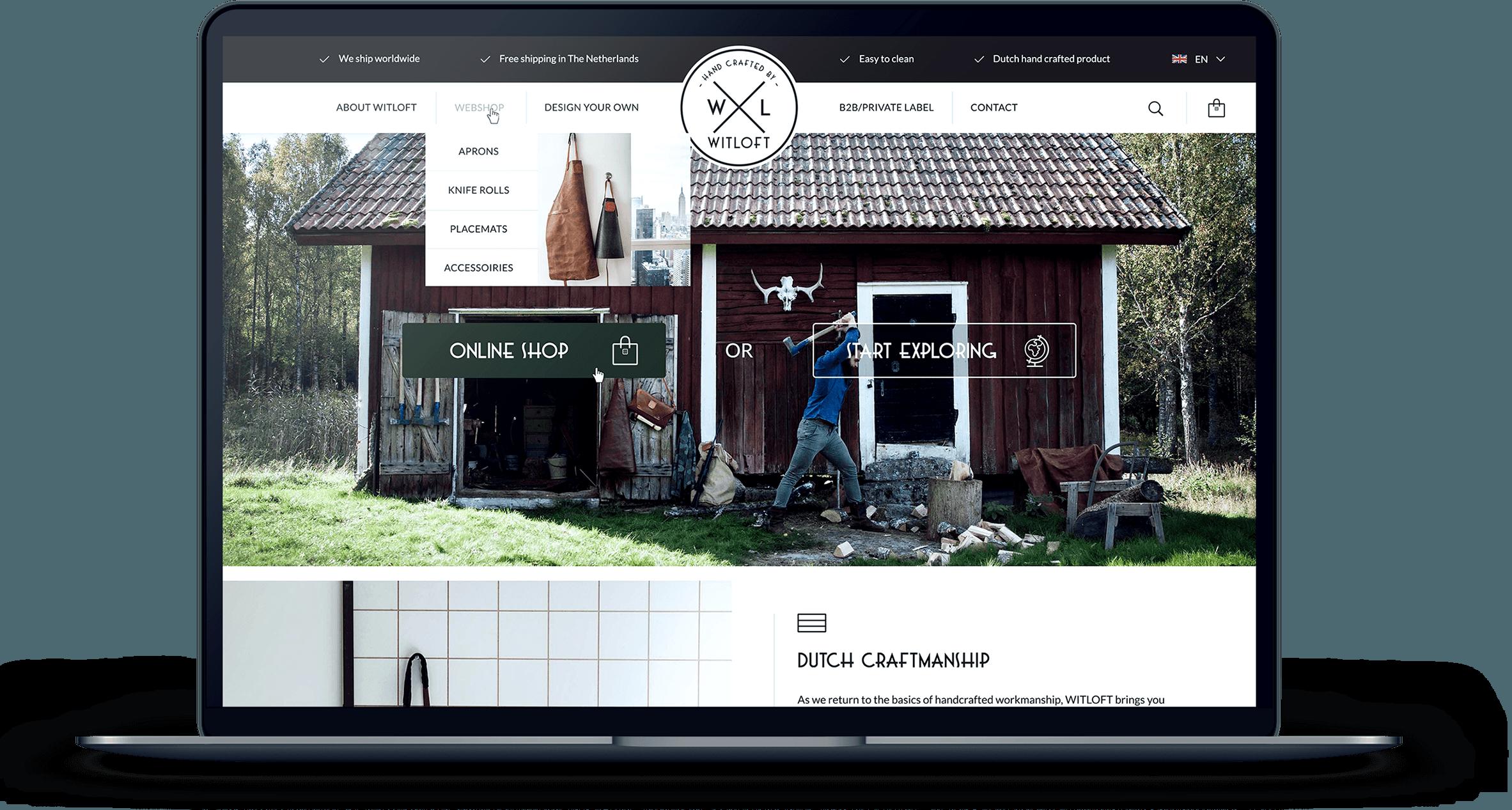 WITLOFT website homepagina weergegeven op een MacBook