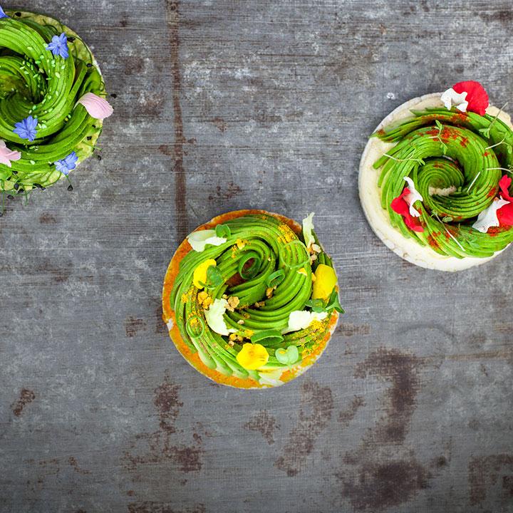 Drie kleurrijke maaltijden van The Avocado Show