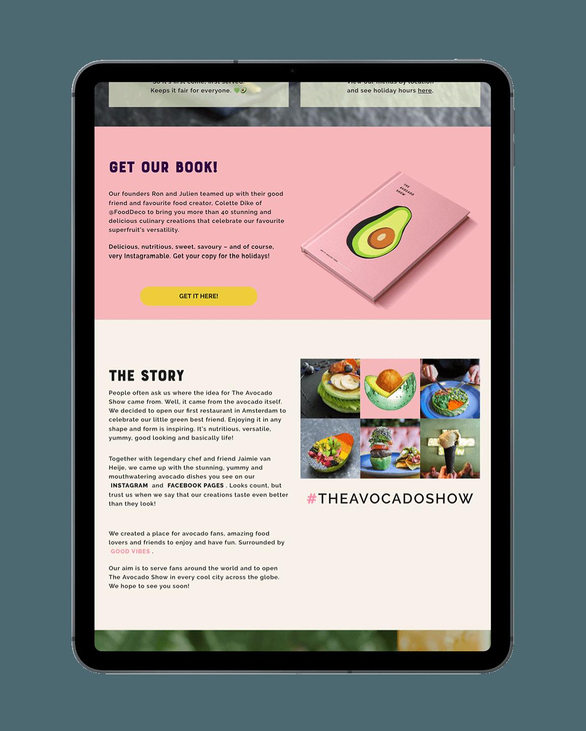 The Avocado Show website weergegeven op een iPad