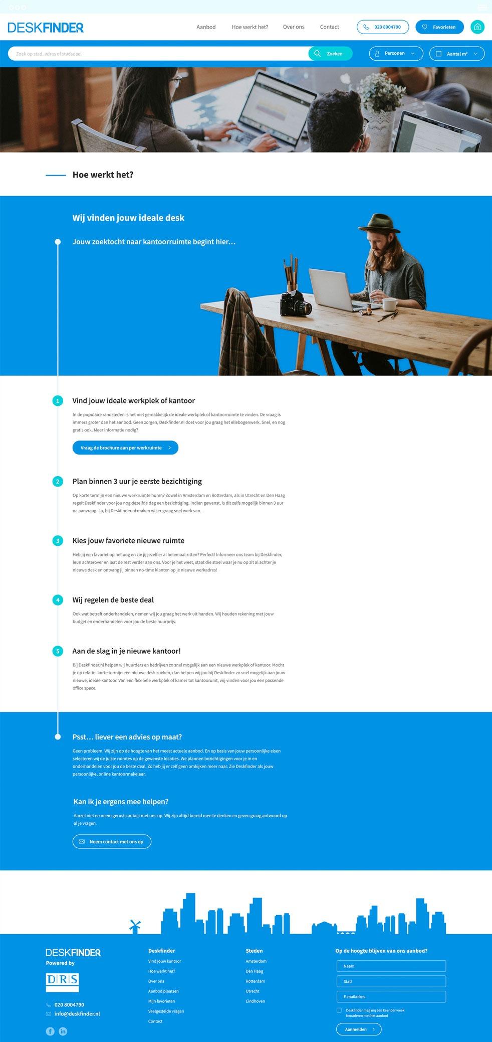 Deskfinder webpagina met uitleg over het concept