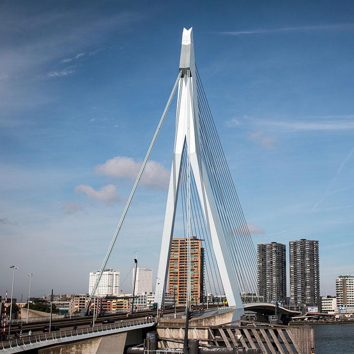 De Erasmusbrug met kantoren op de achtergrond in Rotterdam