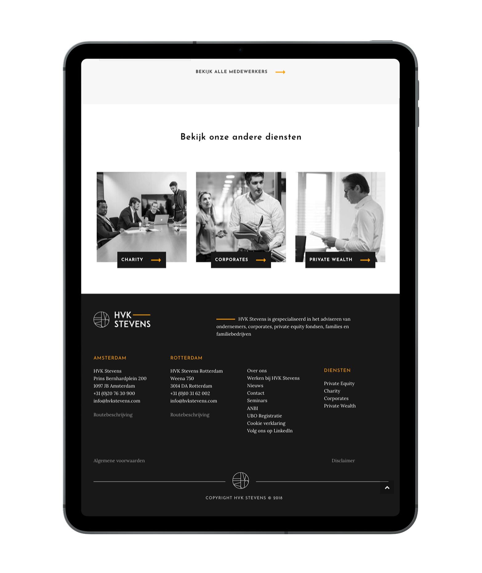 HVK Stevens website wergegeven op een iPad