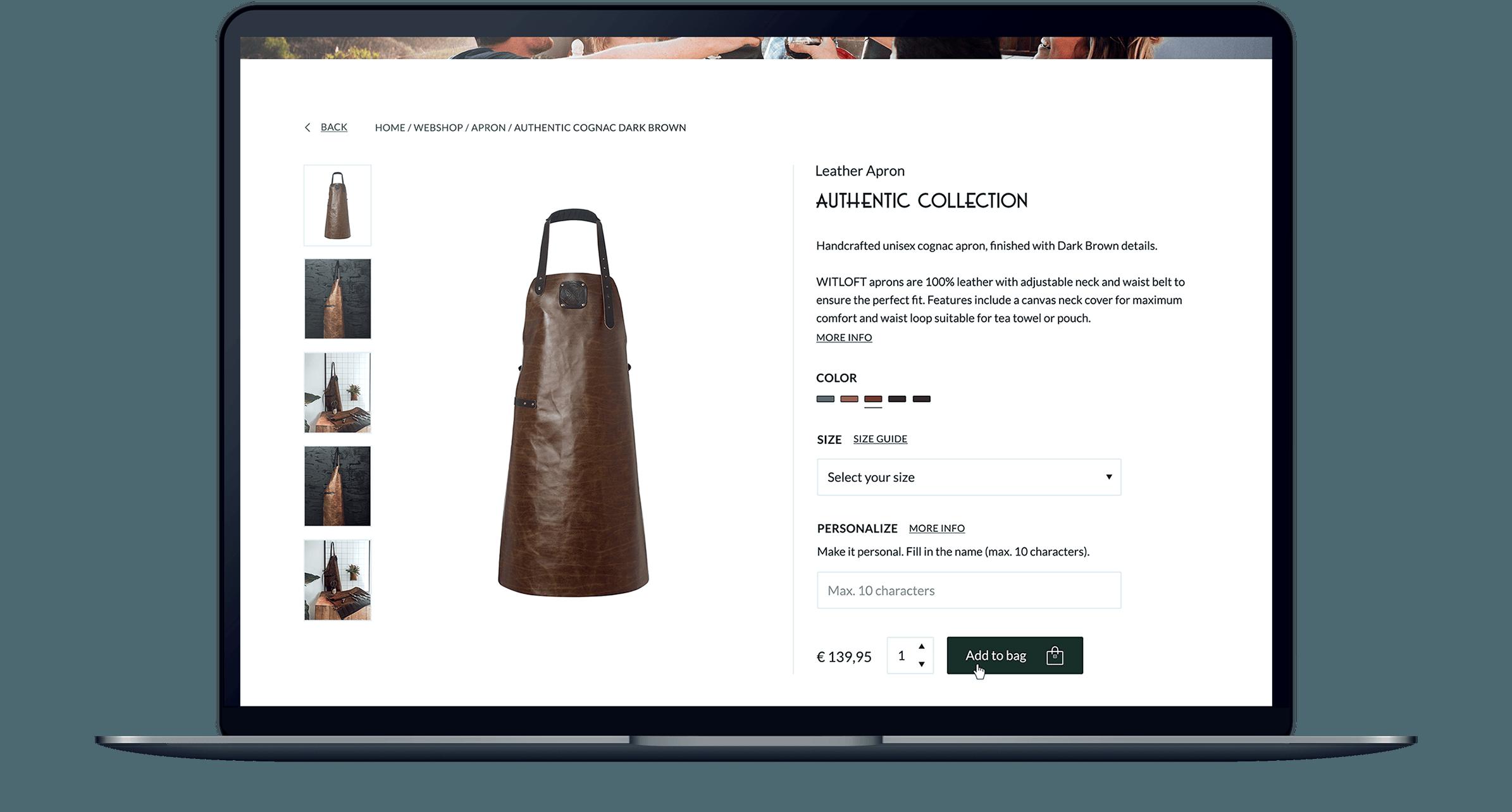 WITLOFT website productpagina weergegeven op een MacBook