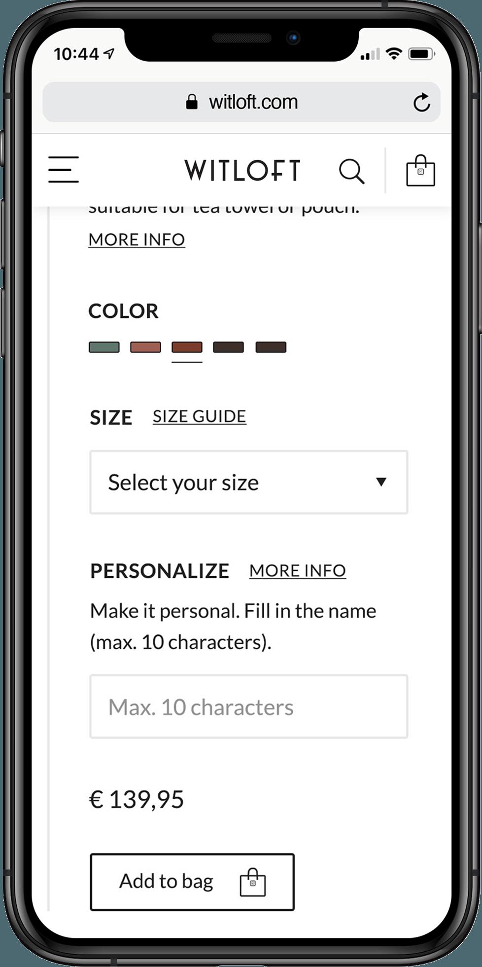 WITLOFT website productpagina weergegeven op een iPhone