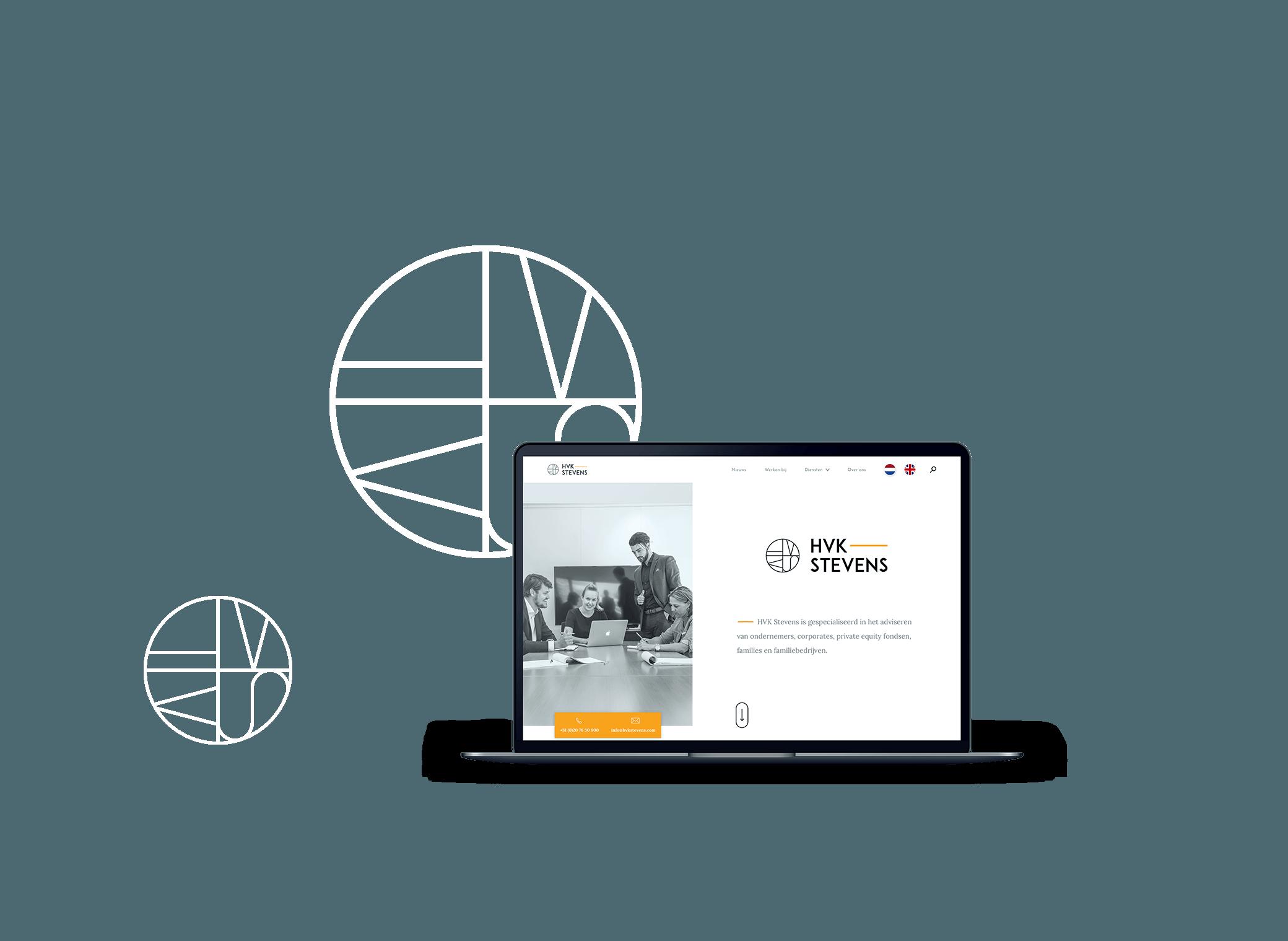 HVK Stevens website weergegeven op een MacBook