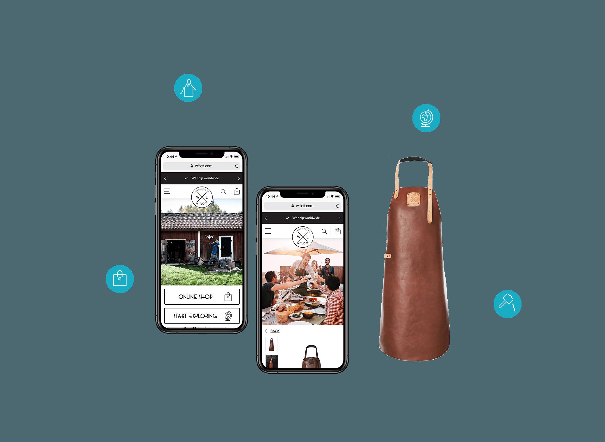 Twee iPhones met de WITLOFT mobiele website naast een cognac gekleurd schort
